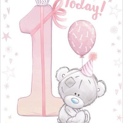 Tatty Ted 1st Birthday Card - Pink