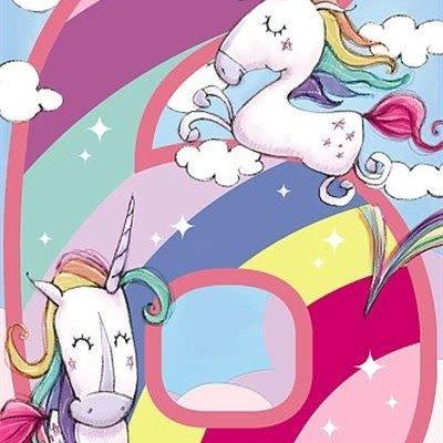 Wishing Well Studios Unicorn 6th Birthday Card