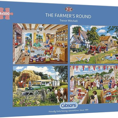 Gibsons The Farmer's Round Puzzle - 4 x 500pcs