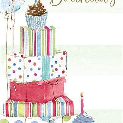 Wishing Well Studios Open Birthday Gifts & Cupcakes Card