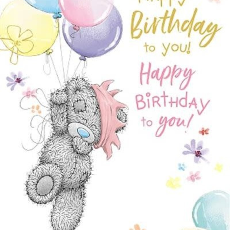 Me to You Open Bear Holding Balloons Birthday Card