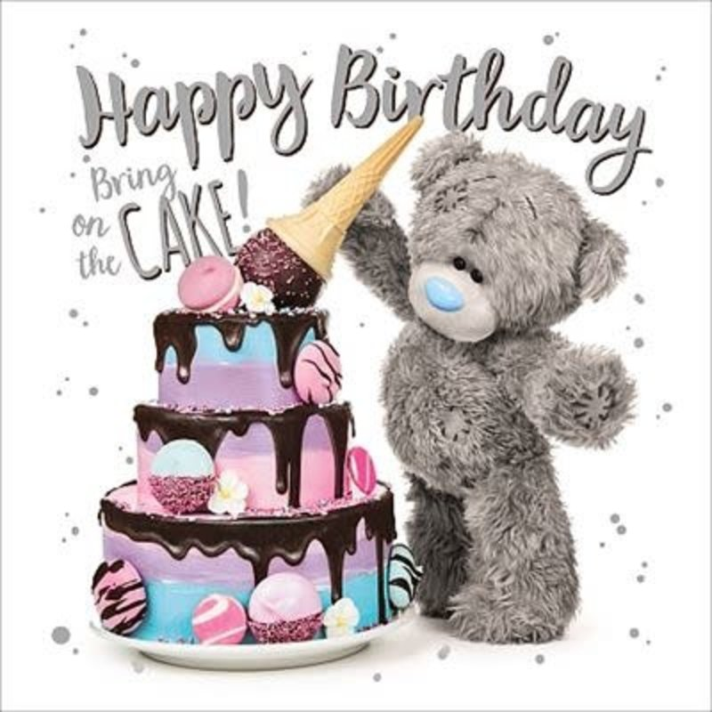 Me to You 3D Effect Bear with Cake Birthday Card