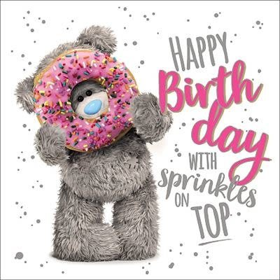 Me to You 3D Effect Bear with Doughnut Birthday Card