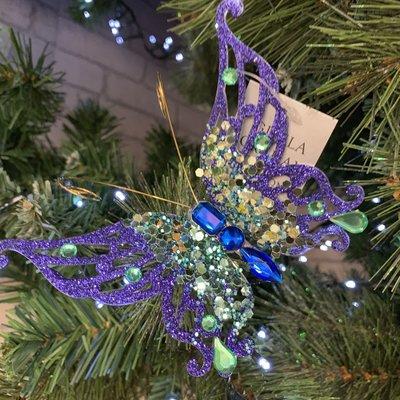 Gisela Graham Purple & Blue Glitter Butterfly Clip On Decoration