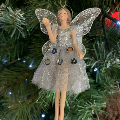 Gisela Graham Silver Resin and Fabric Fairy Arm Up Hanging Decoration