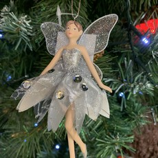 Gisela Graham Silver Resin and Fabric Fairy Arms Down Hanging Decoration