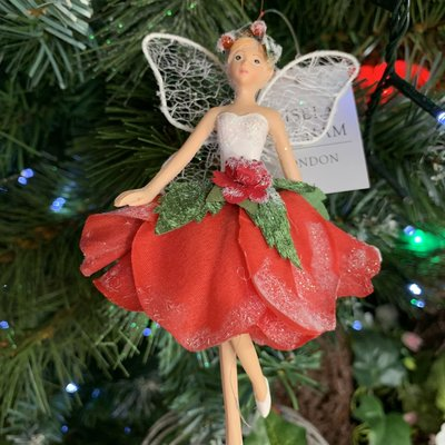 Gisela Graham Resin and Fabric Red Rose Fairy Arms Down Hanging Decoration