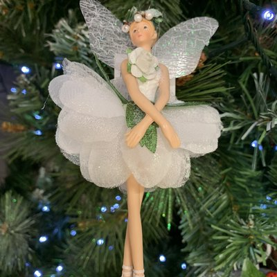 Gisela Graham White & Green Hellebore Fairy Arms Crossed Hanging Decoration