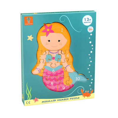 Orange Tree Toys Wooden Number Puzzle - Mermaid