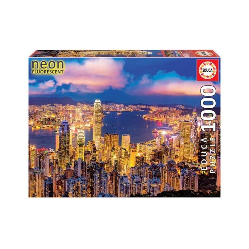 Educa 1000pcs - Neon Hong Kong Skyline Puzzle