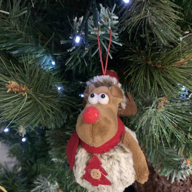 Shudehill Giftware Rudolf Hanging PomPom Reindeer with Tree