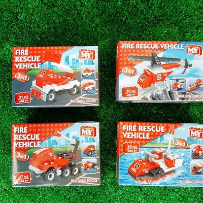 M.Y Fire Rescue Vehicle Brick Set - 4 Assorted