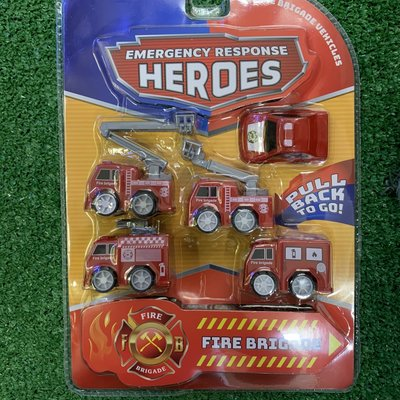 Kandtoys 5 Pull Back Emergency Fire Brigade Vehicles