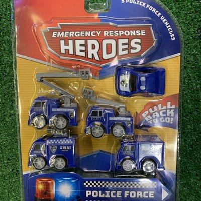 Kandtoys 5 Pull Back Emergency Police Force Vehicles