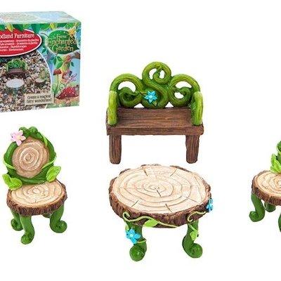 The Fairies Enchanted Garden Secret Fairy Garden - Fairy Woodland Furniture Set