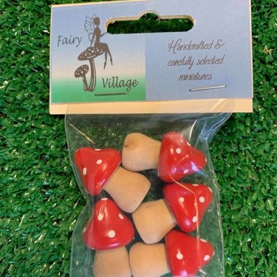 Fairy Village Wooden Red Toadstools x 5 - Small