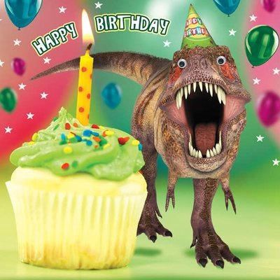 Gogglies Dinosaur Chasing Cupcake Birthday Card