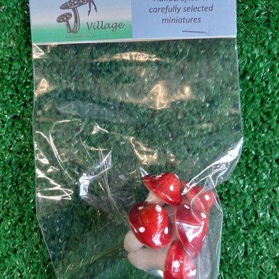 Fairy Village 6 Red Toadstools on Wire - Medium