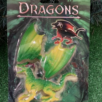 Kandtoys Green & Yellow Dragon On Blistercard