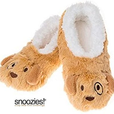 Snoozies Kids Snoozies - Brown Puppy Animal Slippers - Small