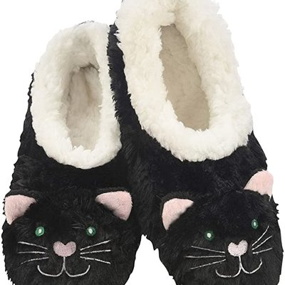 Snoozies Kids Snoozies - Black Cat Animal Slippers - Large