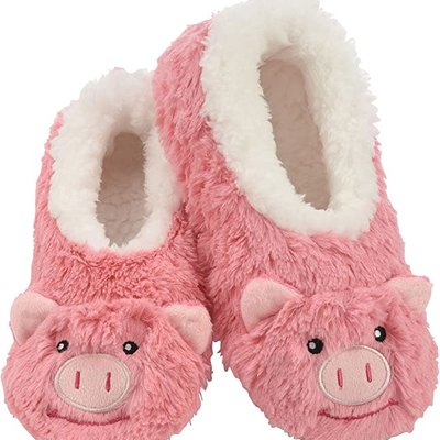 Snoozies Kids Snoozies - Pink Pig Animal Slippers - Small