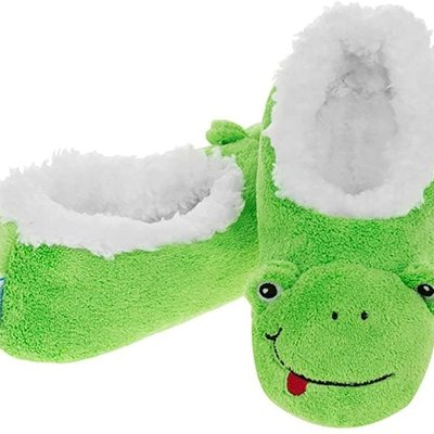 Snoozies Kids Snoozies - Green Frog Animal Slippers - Large