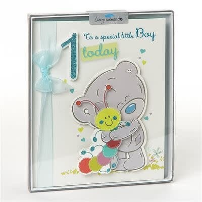 Tatty Ted Boy's 1st Birthday Card - Handmade Boxed