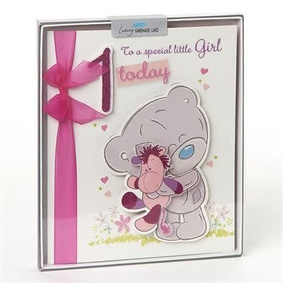 Tatty Ted Girl's 1st Birthday Card - Handmade Boxed
