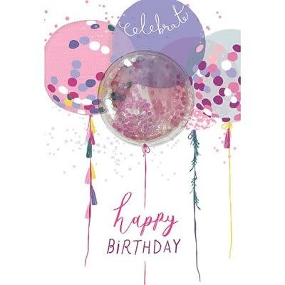Hotchpotch Glitter Ball Balloons Birthday Card