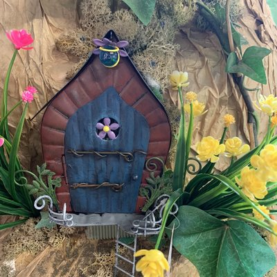 Fairy Kingdom Fairy Kingdom - Blue Fairy Door with Ladder