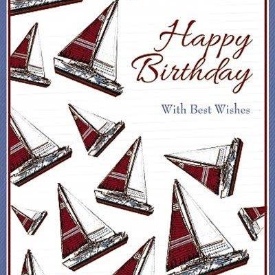 Wishing Well Studios Yachts Birthday Card