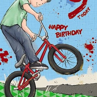 Wishing Well Studios 9th Birthday Bike Card
