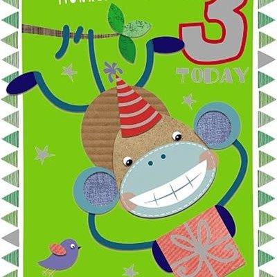 Wishing Well Studios Cheeky Monkey 3rd Birthday Card