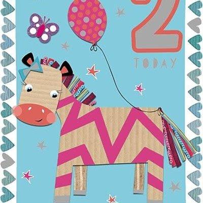 Wishing Well Studios Fun Zebra 2nd Birthday Card