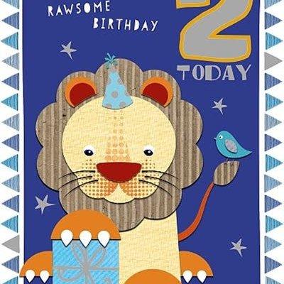 Wishing Well Studios Fun Lion 2nd Birthday Card