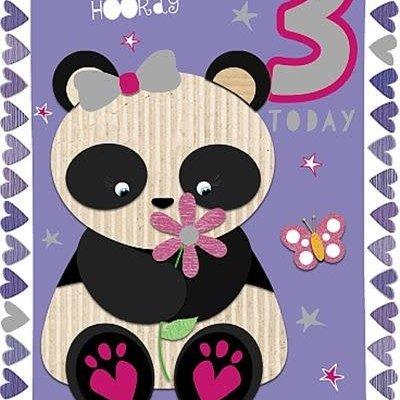 Wishing Well Studios Fun Panda 3rd Birthday Card