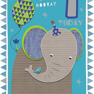 Wishing Well Studios Fun Elephant 1st Birthday Card