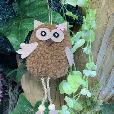Shudehill Giftware Ollie Hanging Owl Decoration - Brown