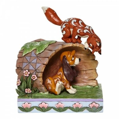 Disney Traditions Disney - Fox and Hound on Log - Unlikely Friends