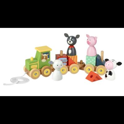 Orange Tree Toys Farm Animal Puzzle Train