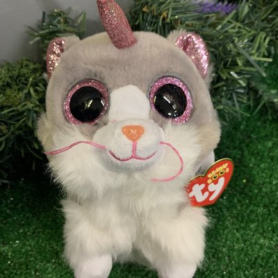 Ty Beanie Boo - Asher the Fluffy Cat with Horn