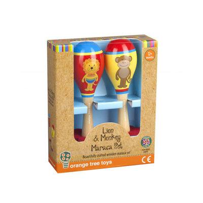 Lion & Monkey Wooden Maraca Set