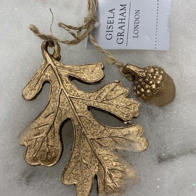 Gisela Graham Resin Gold Leaf & Acorn Hanging Decoration