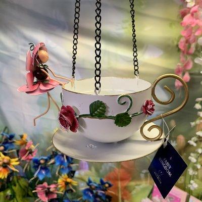 World of Make Believe Fairy Hanging Teacup Feeder - Rose Rosie