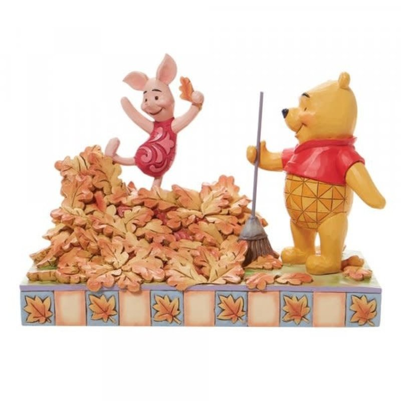 Disney Traditions Disney - Piglet & Pooh Jumping into Fall Figurine