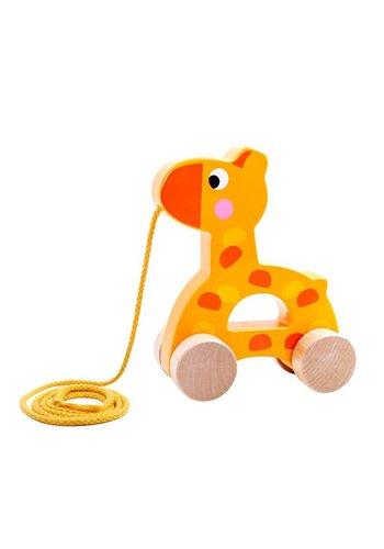 Houten pull along giraf
