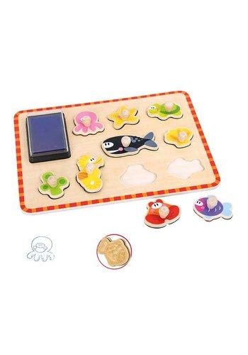 Stempel puzzel zeediertjes