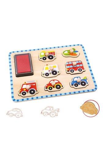Stempel puzzel voertuigen