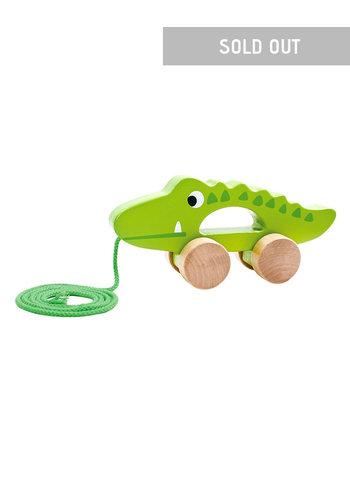 Houten pull along krokodil